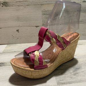Born hand crafted footwear pink,gold wedges size:7